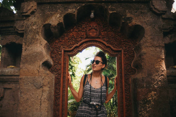 young traveler in Ubud, Bali, Indonesia stock photo