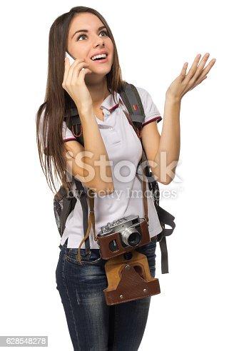 640046924 istock photo Young traveling girl isolated 628548278