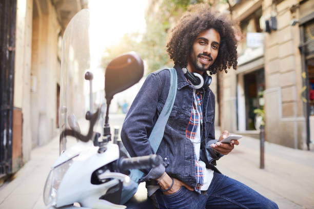 Young trendy man in Barcelona. stock photo