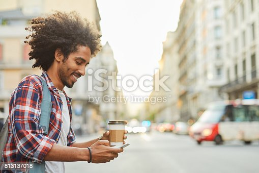 istock Young trendy man in Barcelona. 813137018
