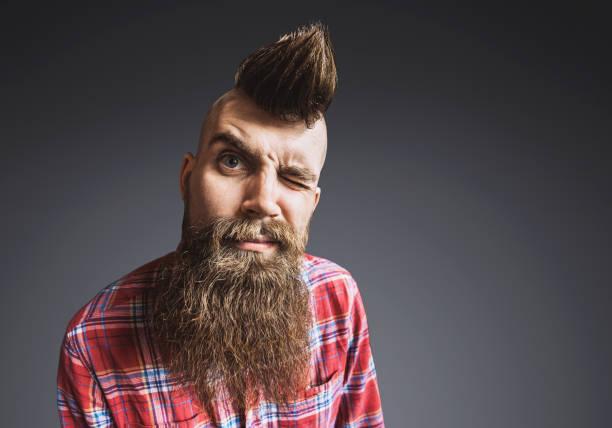 Young trendy punk man portrait stock photo