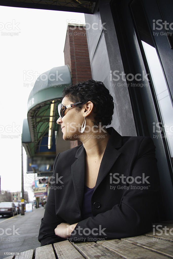 young trendy woman downtown royalty-free stock photo