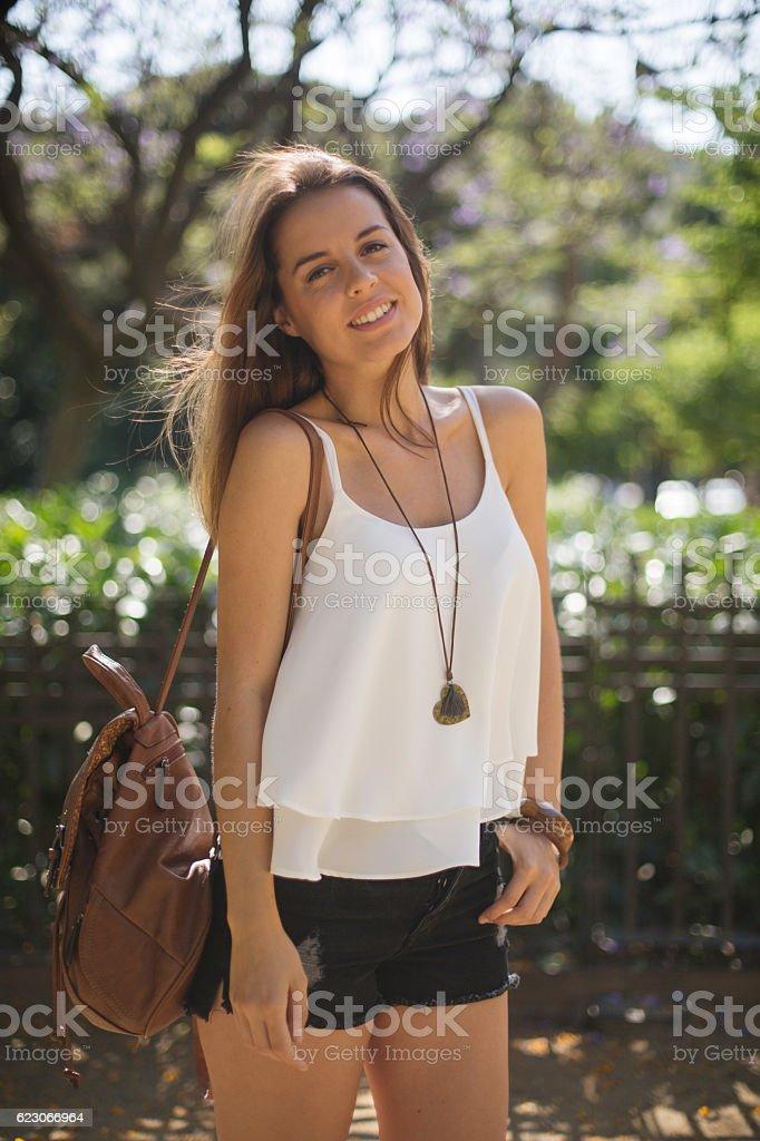 Young trendy woman portrait.