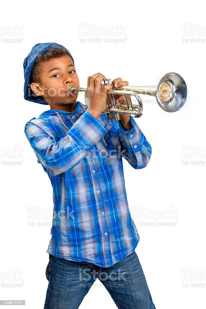 Young trumpet player. stock photo
