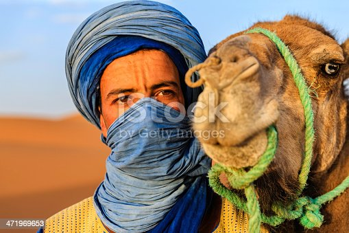 Tuareg with camel on the western part of The Sahara Desert in Morocco. The Sahara Desert is the world's largest hot desert.