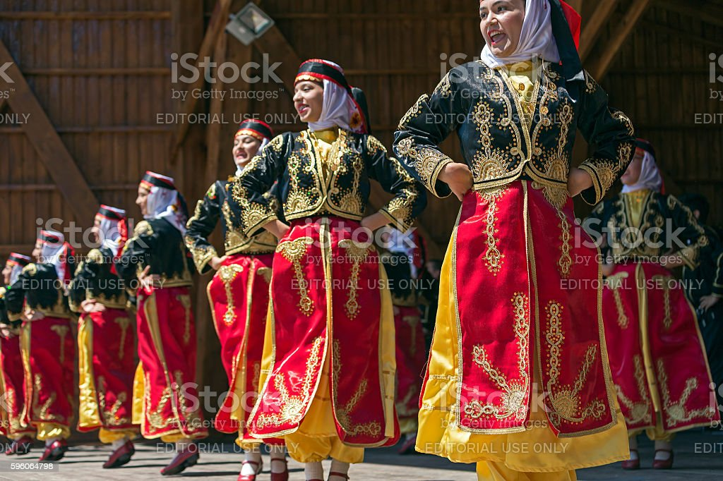 Young Turkish dancers in traditional costume stock photo