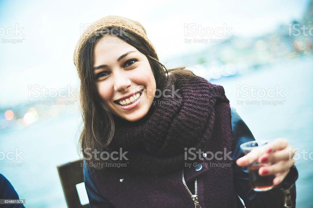 Young Turkish Woman Drinking Tea stock photo