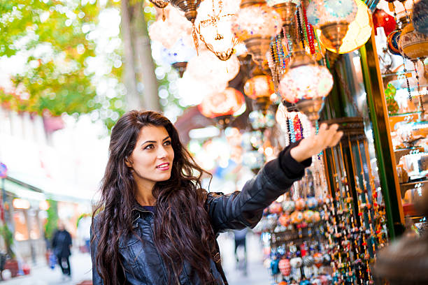 Young Turkish Woman Shopping For Street Goods stock photo