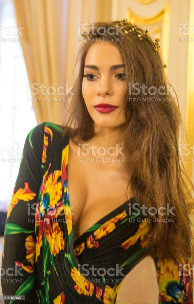 Young ukrainian female model posing with costume at lviv ukraine stock photo
