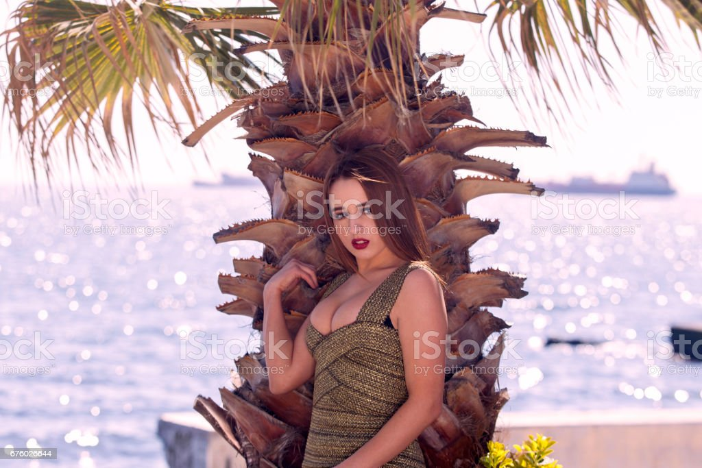 Young ukrainian woman model posing at coast of marmara sea in istanbul Turkey stock photo