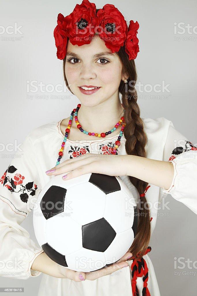 young Ukrainian woman with  ball stock photo