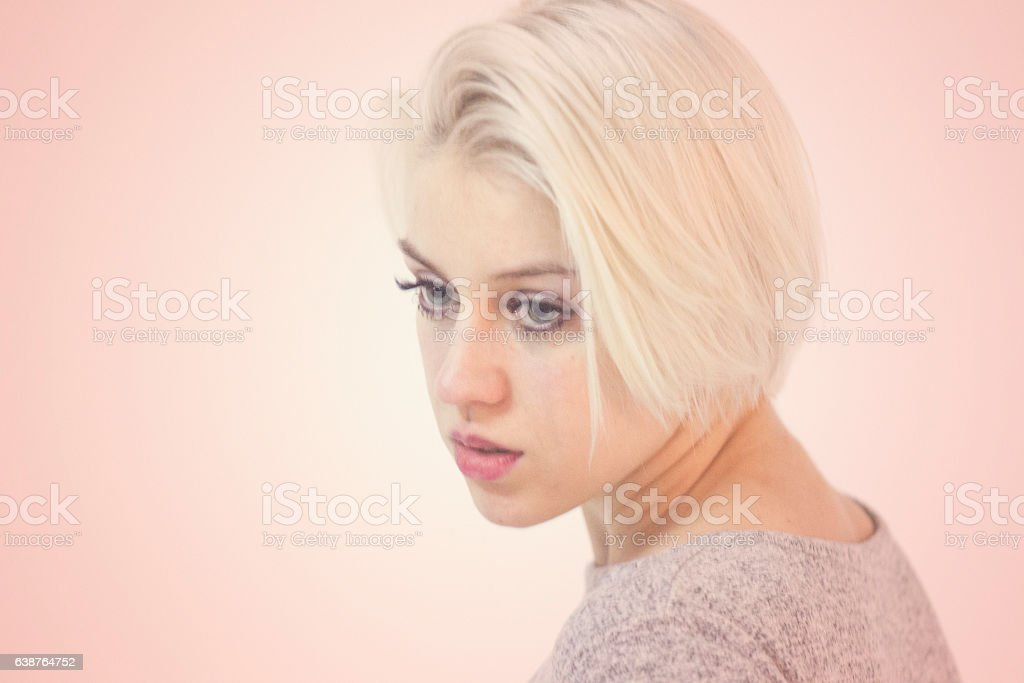 Young ukranian blonde female model posing at lviv ukraine stock photo