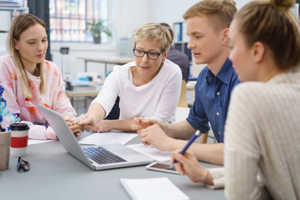 Young university students or office workers stock photo