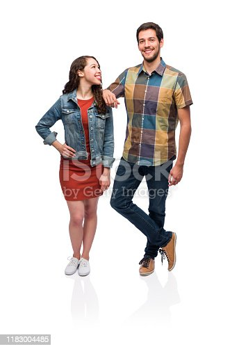 Cut out, Full length, Smiling, Young people, Standing, Latin woman, Latin man, Friends,