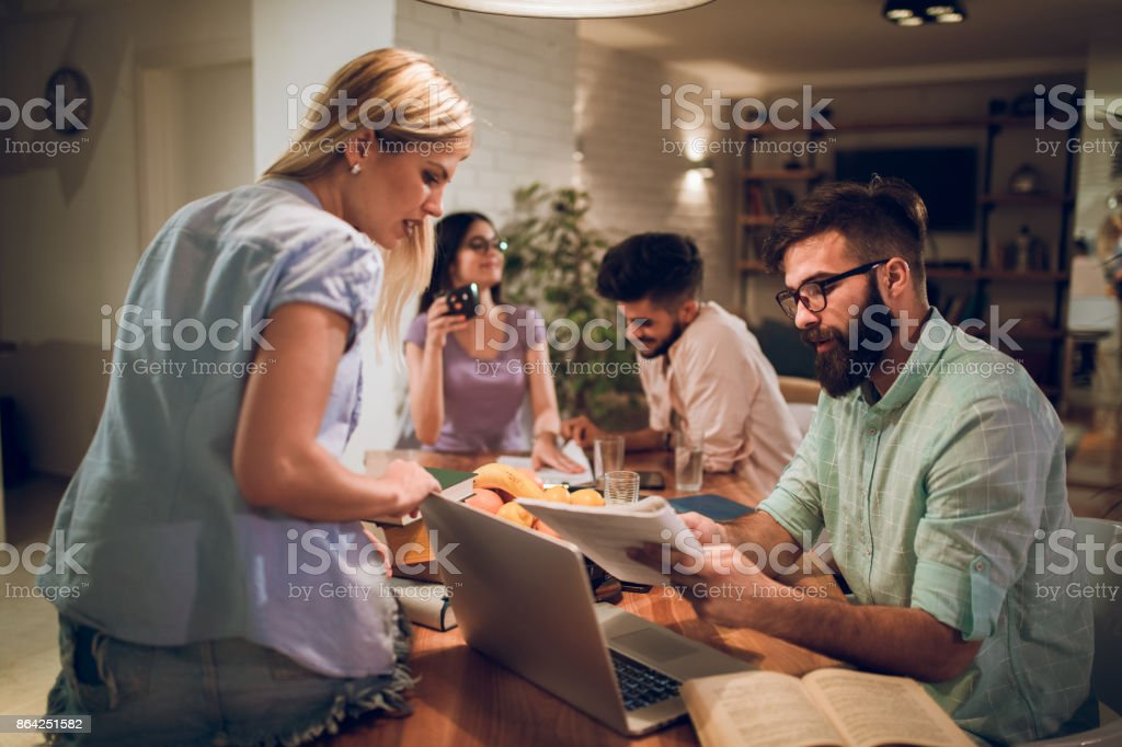 Young university students studying together for exams royalty-free stock photo