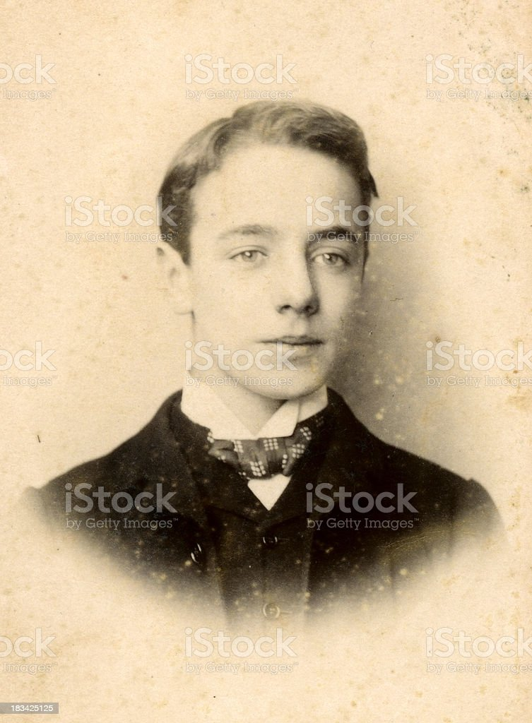 Young Victorian Boy Old Photograph stock photo