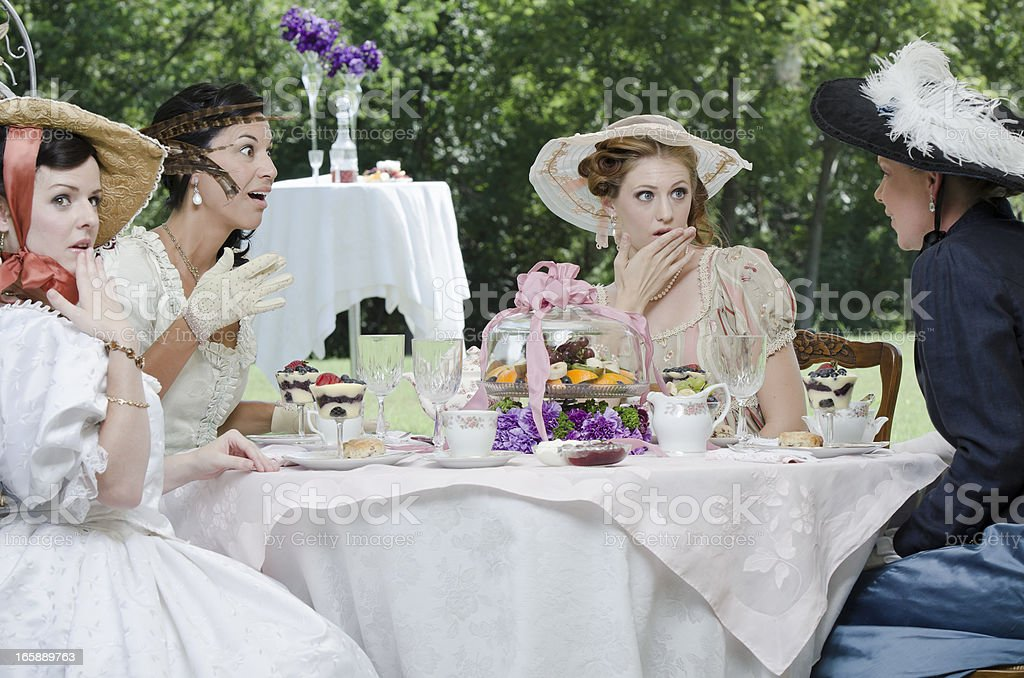 Young victorian woman gossiping stock photo