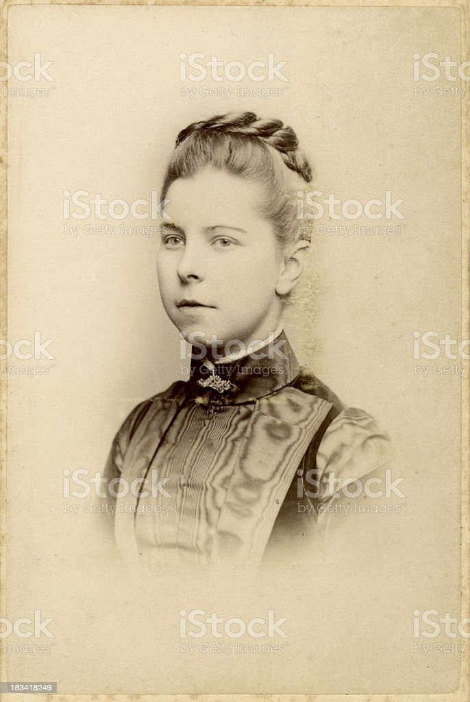 Young Victorian Woman Old Photograph stock photo