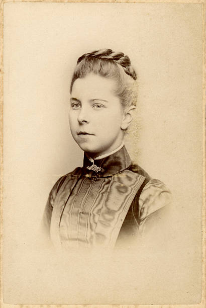 Young Victorian Woman Old Photograph Vintage photograph of a young woman from the victorian era, circa 1870 19th century stock pictures, royalty-free photos & images