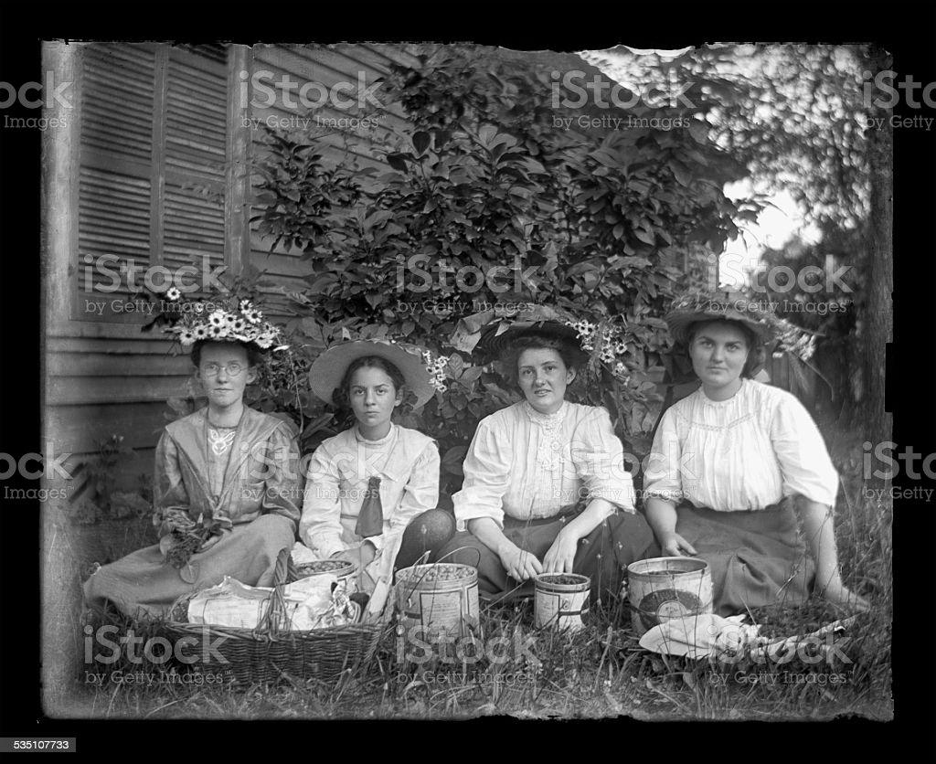 Young, Victorian-era, Girls Eating Cherries stock photo