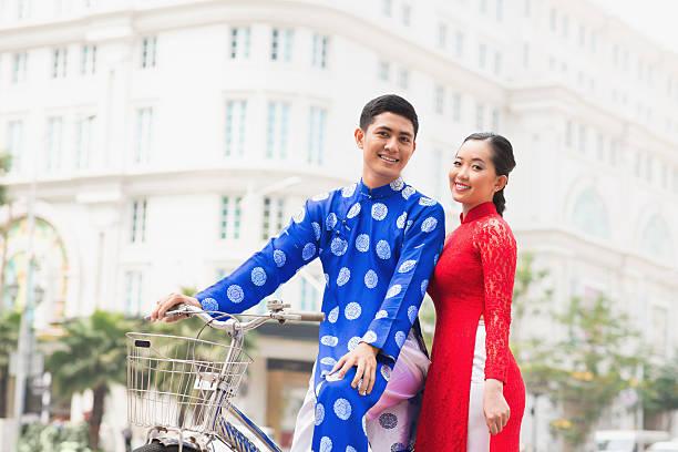 young vietnamese couple - ao dai stock photos and pictures