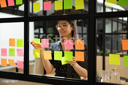 1144569896 istock photo Young vietnamese female scrum master organizing project working process. 1193713017