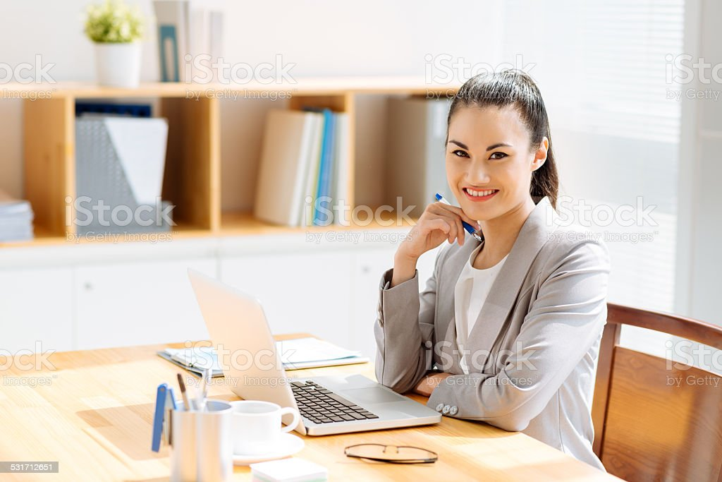 Young Vietnamese manager stock photo