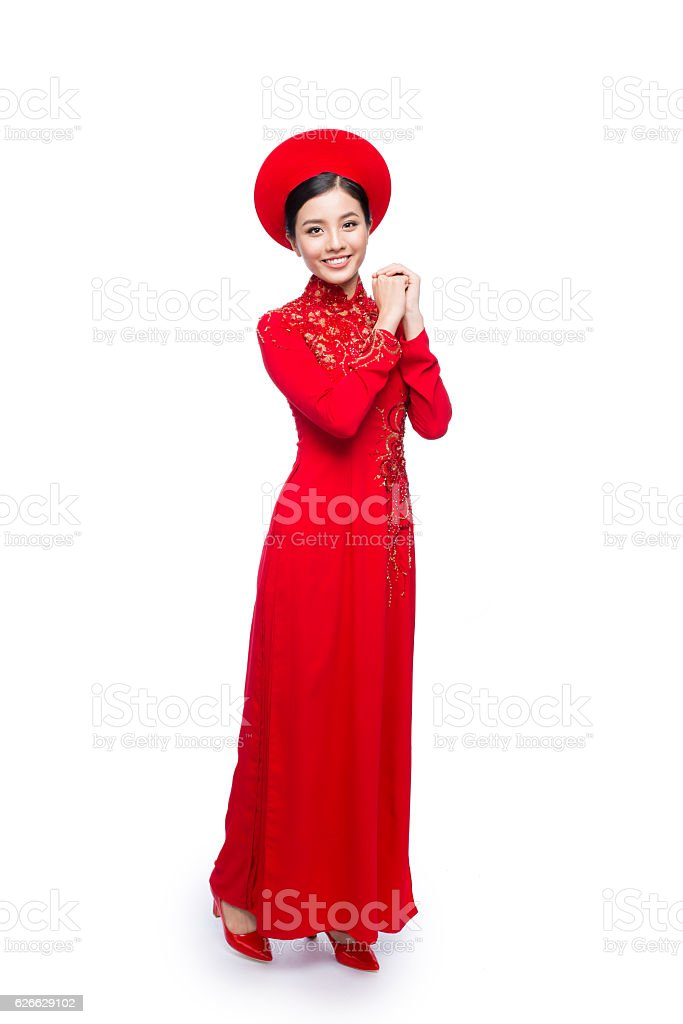 Young vietnamese woman in Ao Dai Dress stock photo