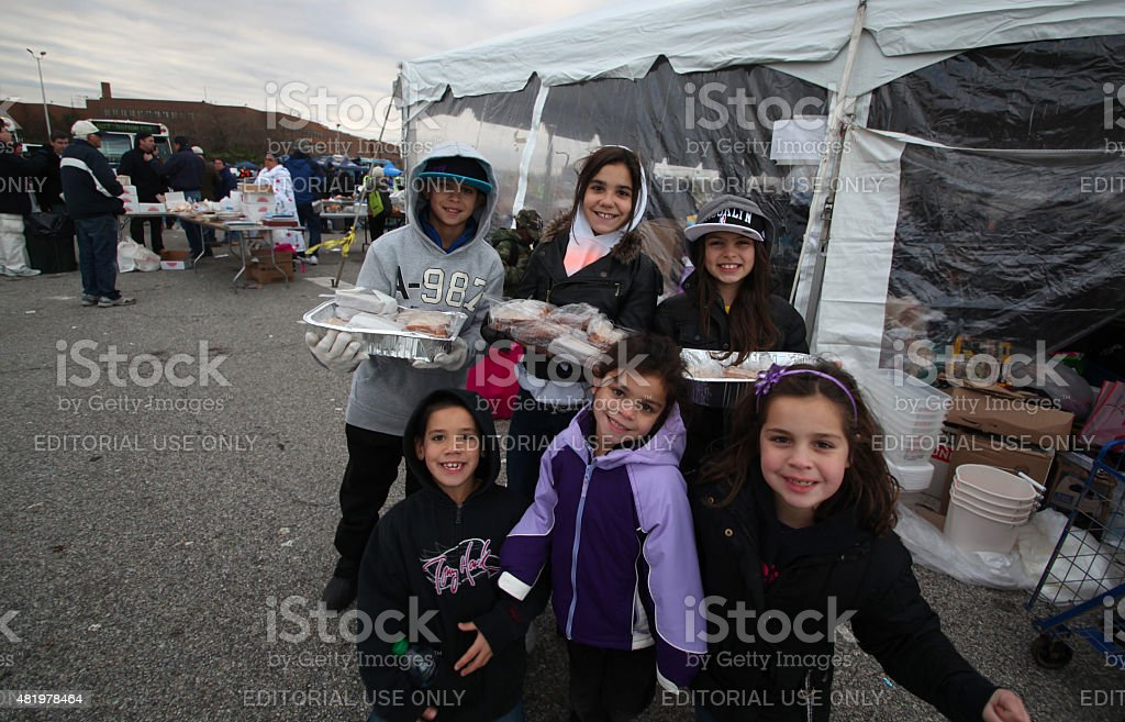Young volunteers for Sandy relief stock photo