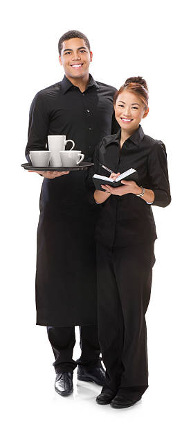 young waiter and waitress isolated on white stock photo