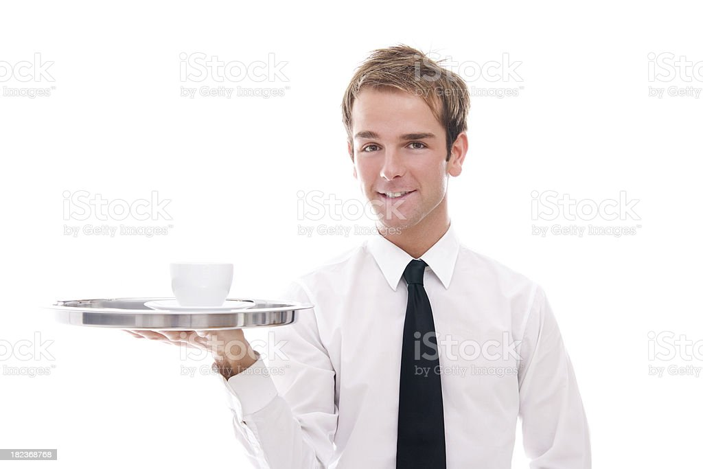 Young Waiter Holding a Tray w/ Coffee Cup royalty-free stock photo