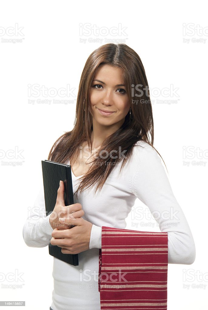 Young waitress with menu and table napkin in hand royalty-free stock photo