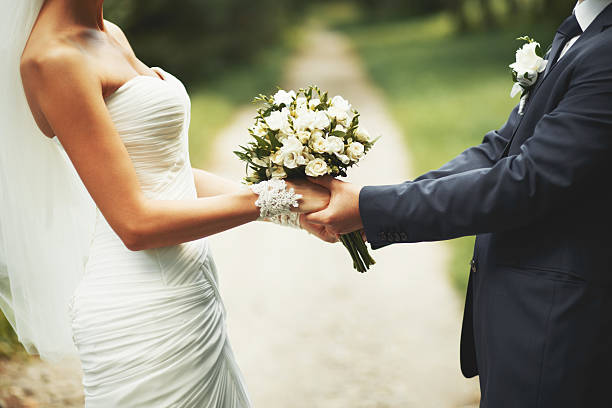 Young wedding  couple. Groom and bride together. stock photo