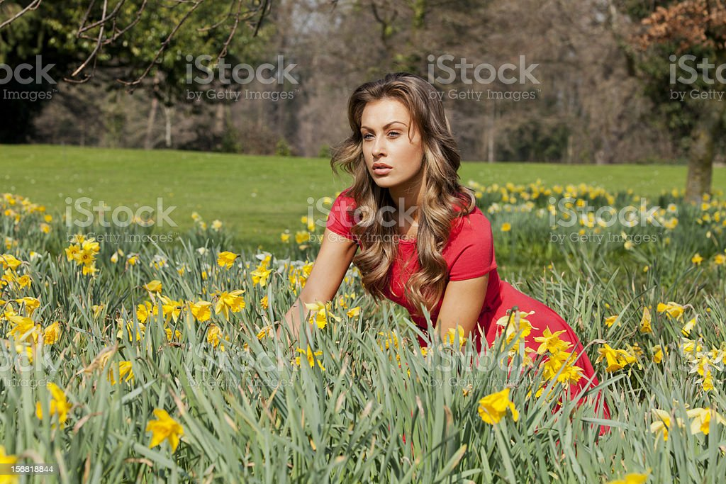 Young White Attractive Model Close up Portrait stock photo