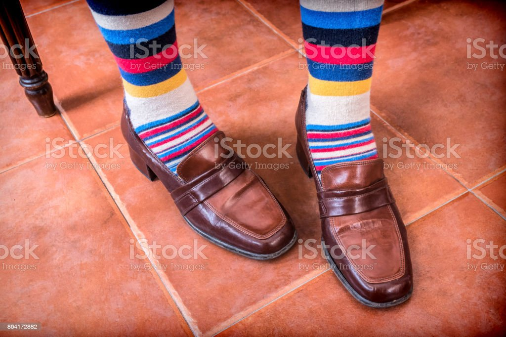 Young with vintage socks and shoes royalty-free stock photo