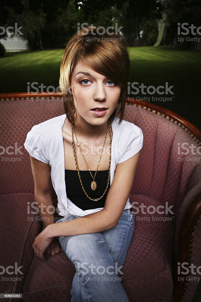 Young Woman About to Talk royalty-free stock photo