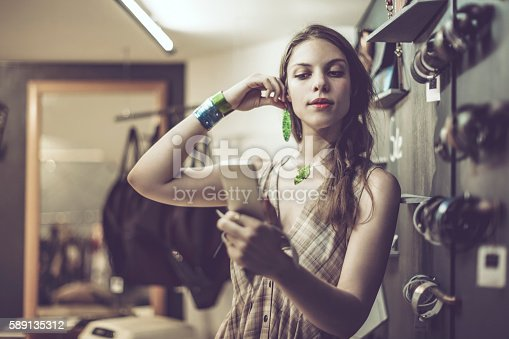 Young woman advertising jewelry
