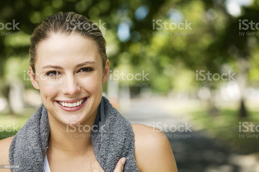 Young Woman After Exercise at the Park royalty-free stock photo