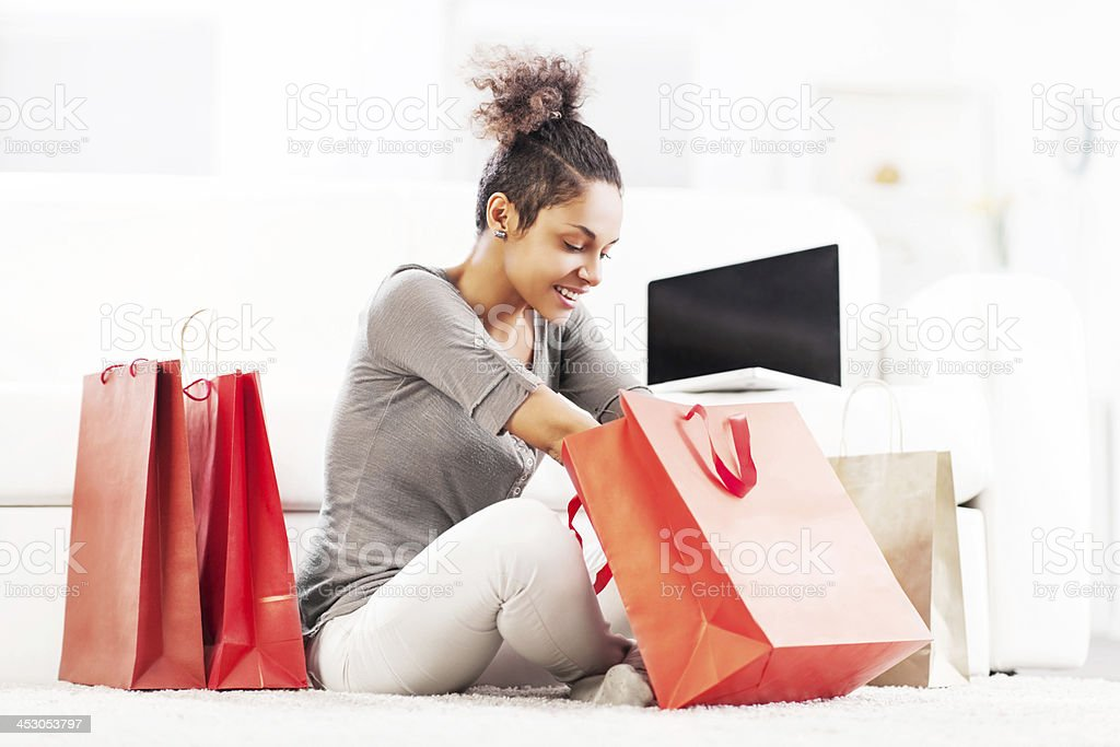Young woman after shopping. royalty-free stock photo