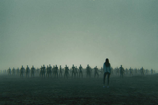 young woman against zombie hordes - zombie apocalypse stock photos and pictures