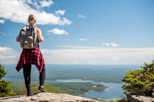 Young Woman Alone at the Top of a Mountain stock photo