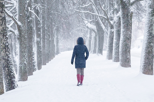 Young woman alone slowly walking on snow covered sidewalk through alley of trees. Enjoying fresh air in blizzard in winter day.