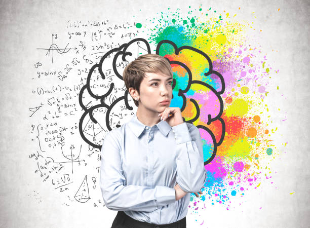 Young woman, analytical and creative thinking stock photo