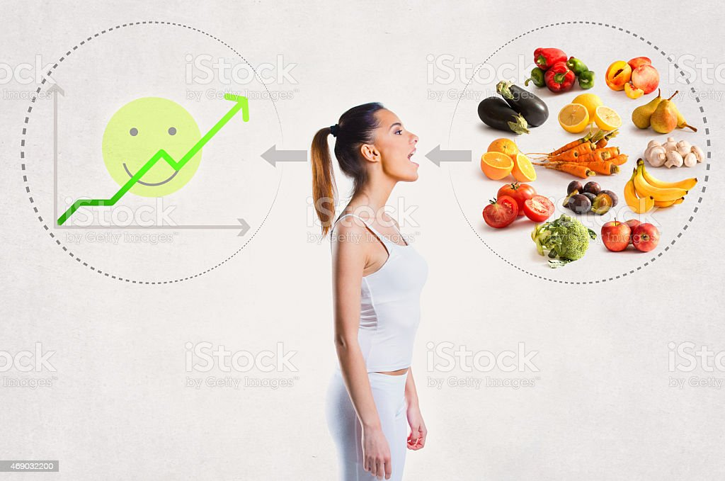 Young woman and a healthy diet concept stock photo
