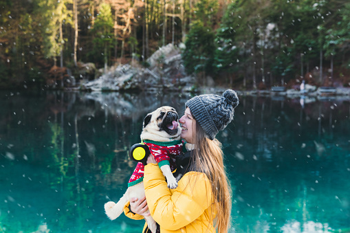 Happy woman in yellow jacket and her small beautiful dog - pug breed in Christmas sweater enjoying the bright winter day and the snow staying near the scenic turquoise mountains lake in Swiss Alps