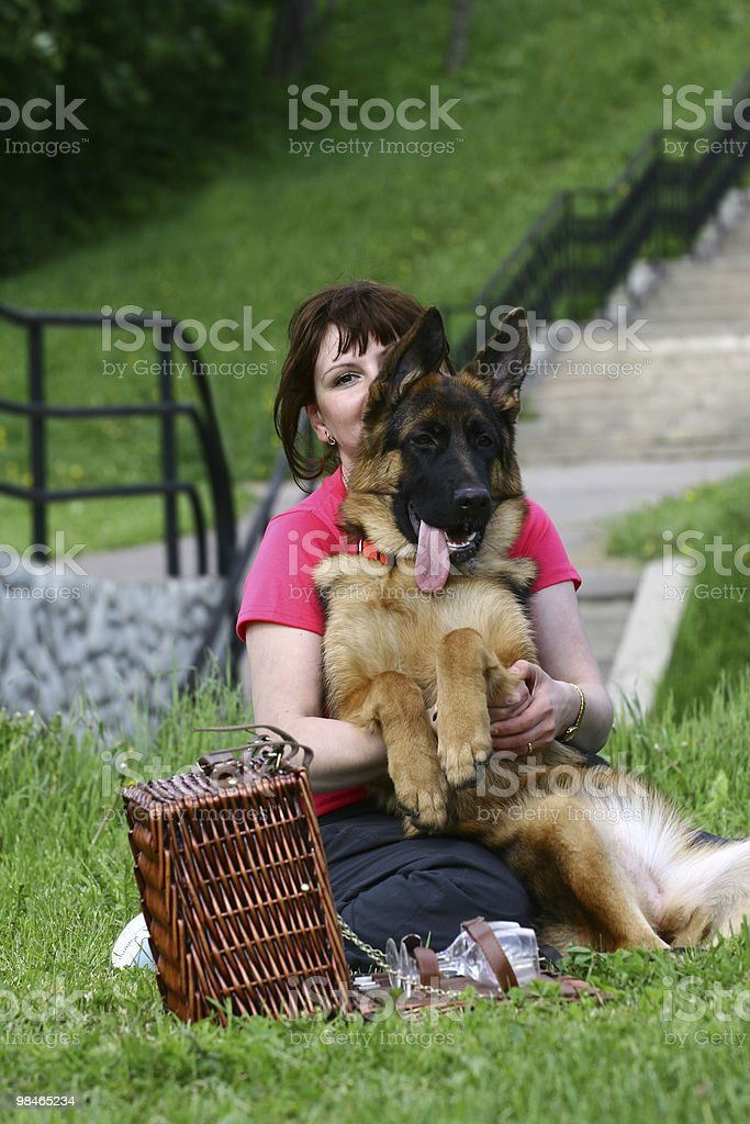 Young woman and dog royalty-free stock photo