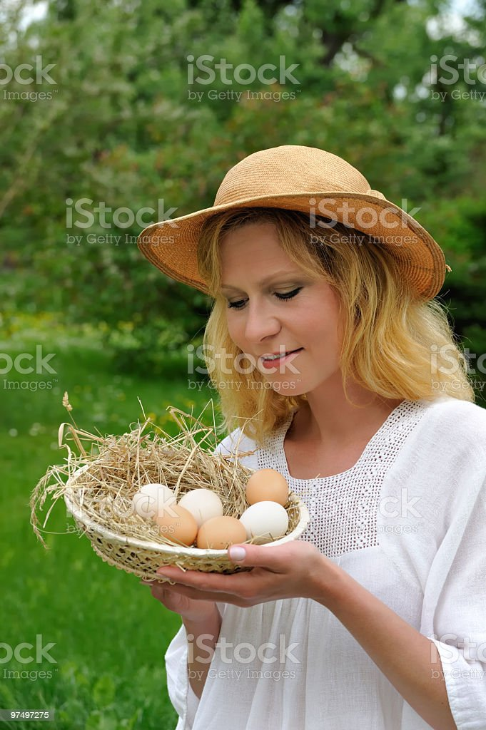 Young woman and easter eggs royalty-free stock photo