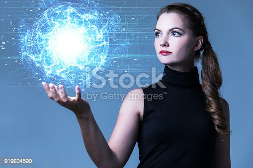 istock Young woman and force field. 919604590