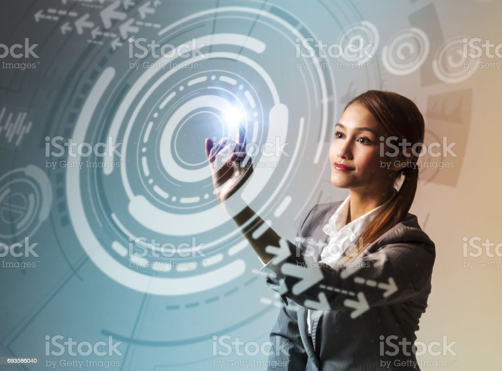 young woman and futuristic graphical user interface concept stock photo
