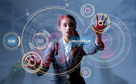 istock Young woman and head up display. HUD. GUI. Internet of Things(IoT). 913641932